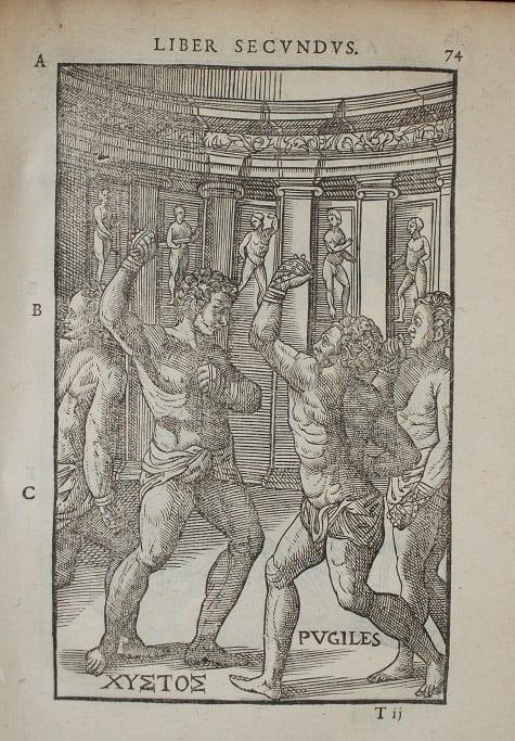 Illustration of men boxing from De Arte Gymnastica, 1577