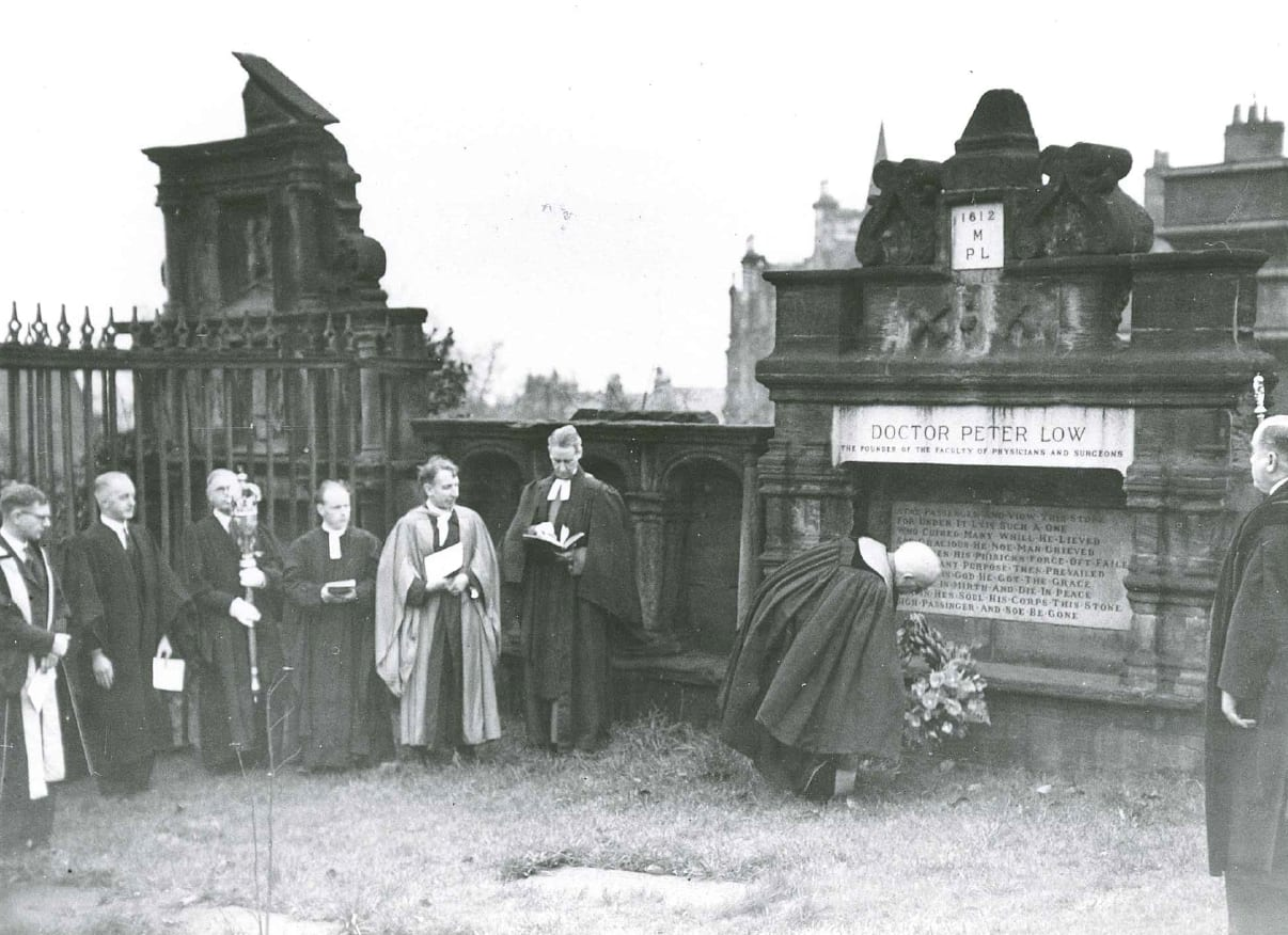 President W.R. Snodgrass, laying a wreath at Peter Lowe's tomb after the Commemoration Service on the 350th Anniversary of the Royal Faculty in November 1949 (RCPSG 1/12/7/189)