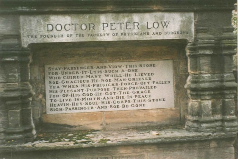 Tomb of Peter Lowe in the grounds of Glasgow Cathedral (RCPSG 1/12/9/4)