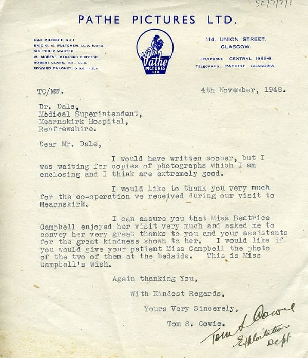 A letter sent on Beatrice Campbell's behalf from Pathe Pictures Ltd.
