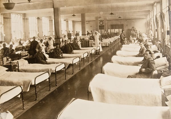 Patients and staff on the ward at the Red Cross Hospital, Springburn c1914