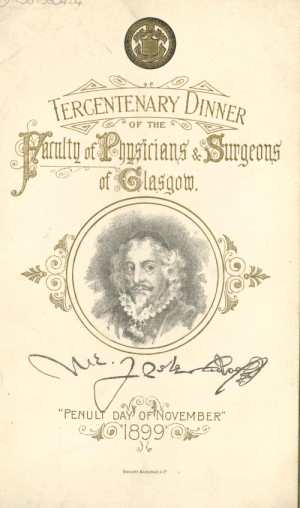 Menu for the Tercentenary Dinner, 1899 (pamphlet collection)