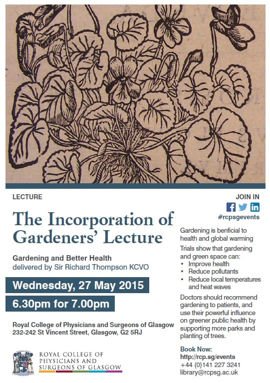 Details of the Incorporation of Gardeners Lecture 2015