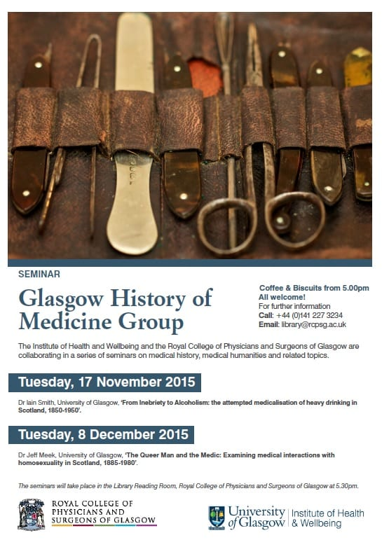 Poster advertsisng the programme for the Glasgow History of medicine Group