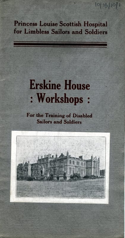 Pamphlet describing the Erskine House Workshops c. 1918. Workshops were created for commercial instruction, carpentry, basketry, shoemaking and hairdressing. RCPSG 10/1B/10/1
