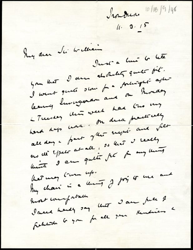 Letter from Lord Jellicoe, expressing gratitude for Macewen's care, 11 March 1915 (RCPSG 10/1B/9/48).