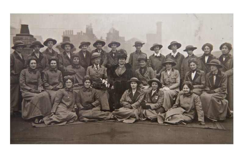 Girton and Newnham Unit of the Scottish Women's Hospitals about to embark on board ship at Liverpool, October 1915.