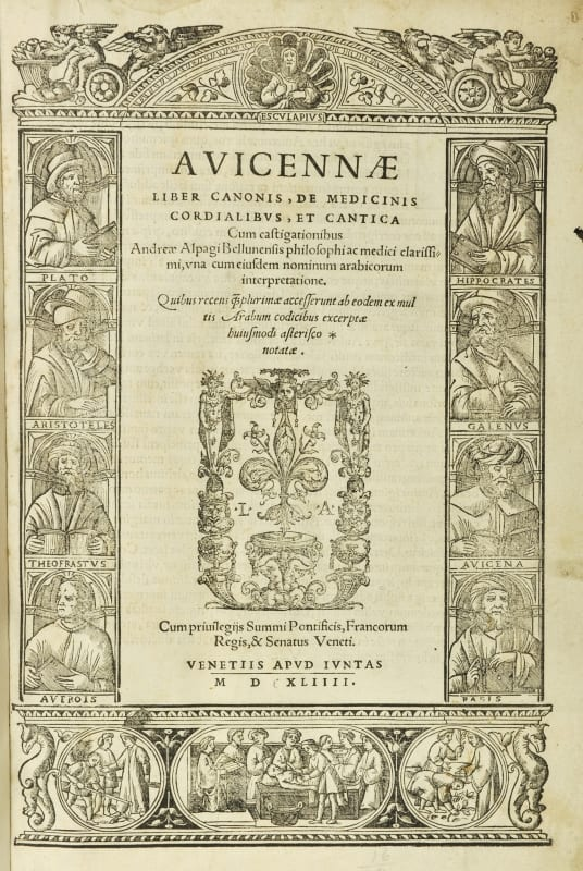 Title page of Avicenna's Canon of Medicine, Venice, 1544