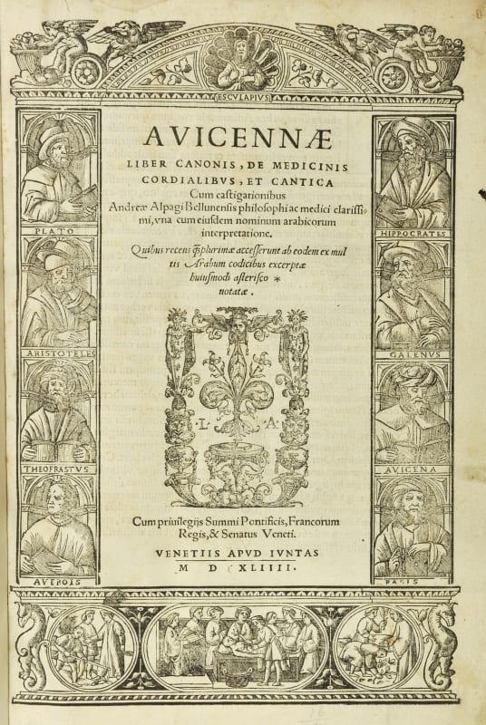 Title page of Avicenna's Canon of Medicine, Venice, 1544