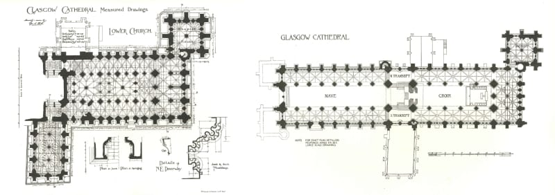 "Floor plans of the cathedral from ""The Book of Glasgow Cathedral"" by George Eyre-Todd (1898)"