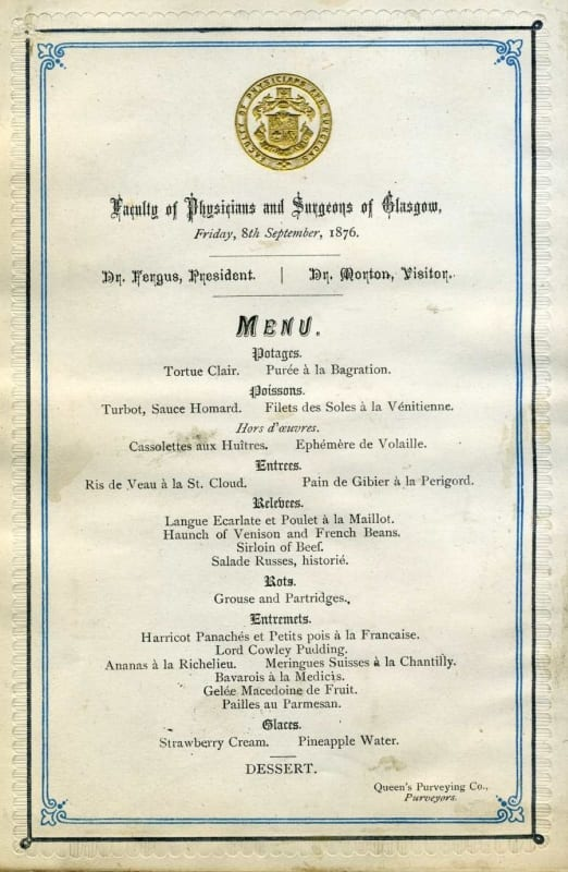 Menu for the Faculty's annual dinner in 1876 (RCPSG 1/22/4/2)