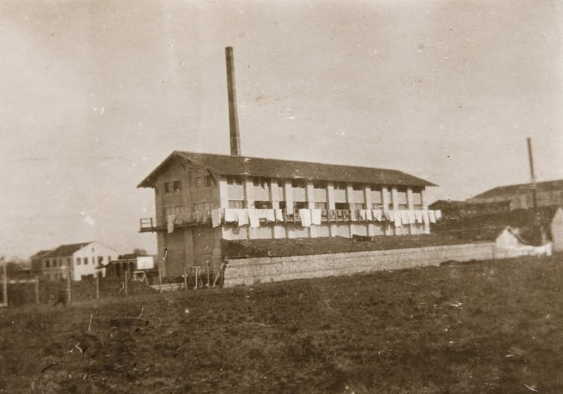Disused silk factory used for accommodating members of the Girton and Newnham Unit at Guevueli, Serbia