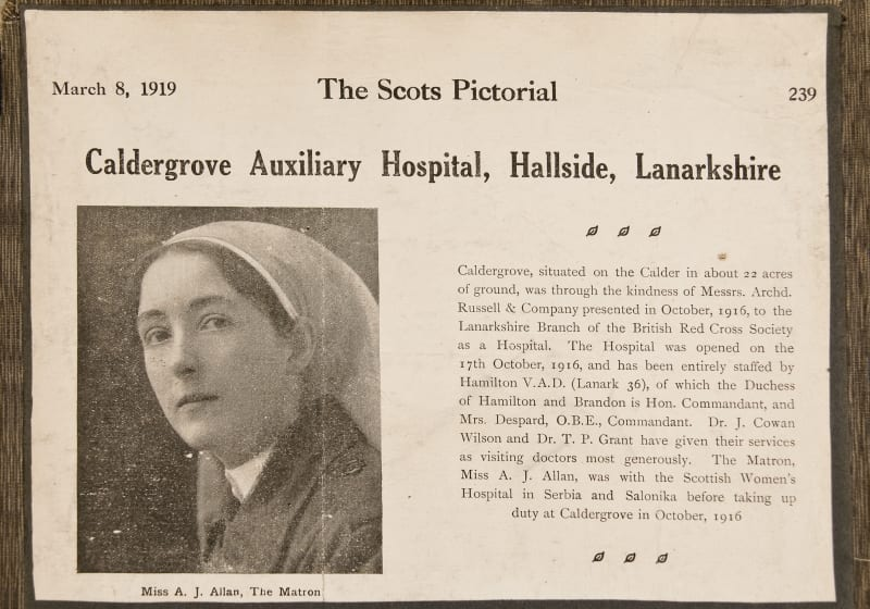 Newspaper cutting relating to the retiral of Matron Allan from Caldegrove Auxiliary Hospital