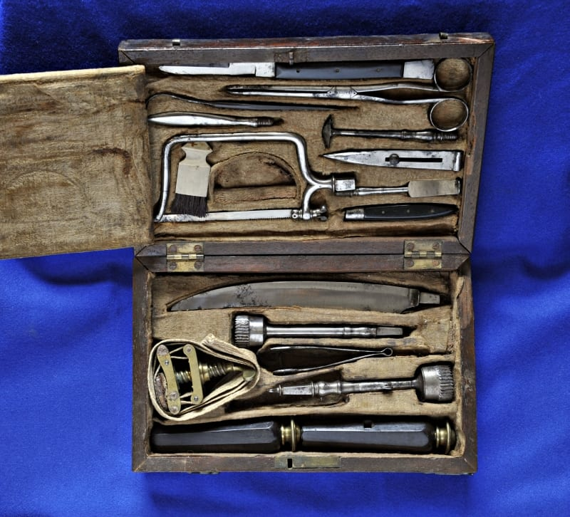 Inside of instrument box showing instruments.