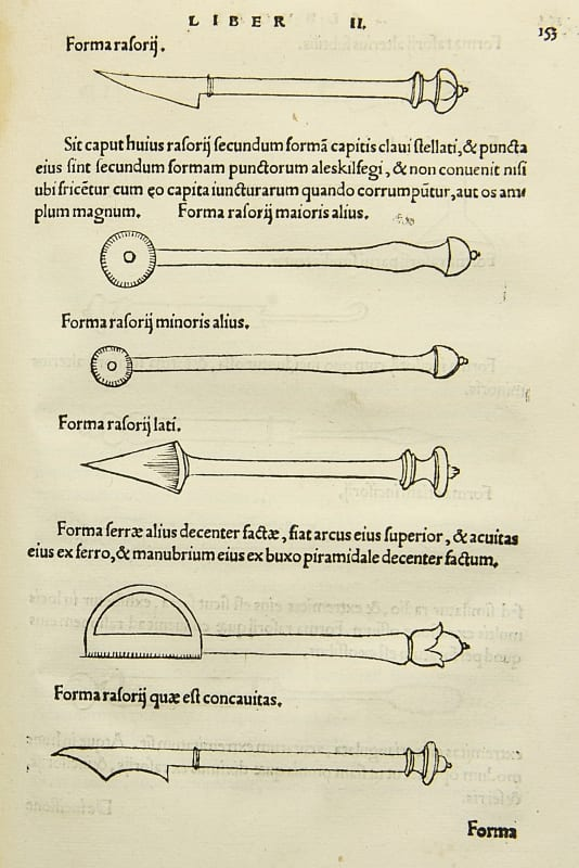 Surgical instruments from Albucasis' Treatise on Surgery