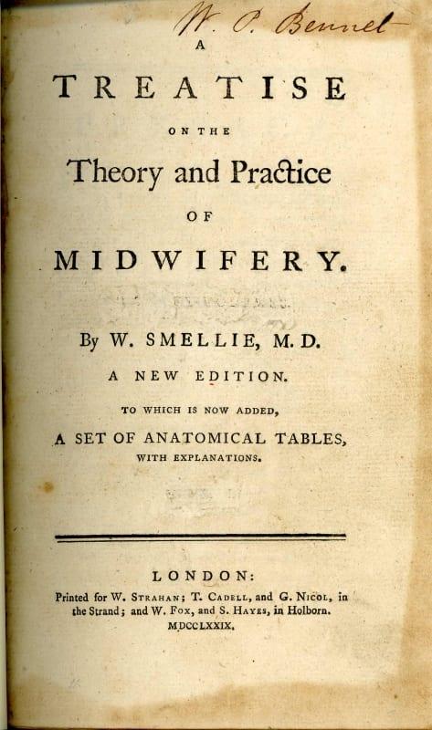 Title page of Theory on The Practice of Midwifery by William Smellie
