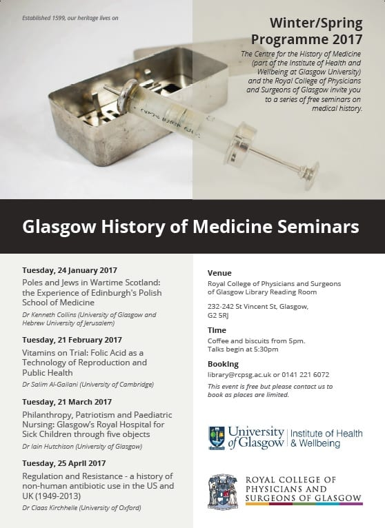 Glasgow History of Medicine programme - winter/spring 2017