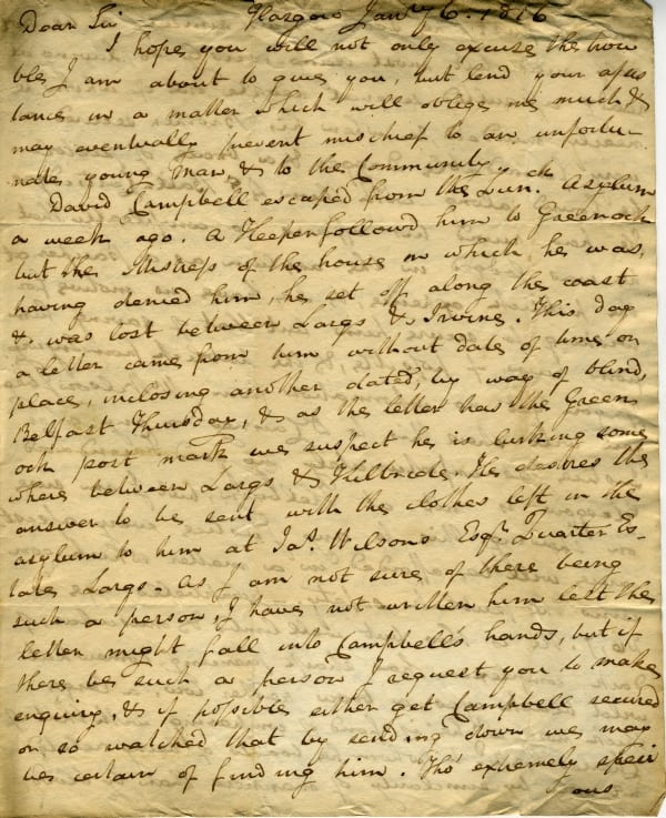 Letter regarding David Campbell who escaped from the lunatic asylum.  Gives a full description of the patient.