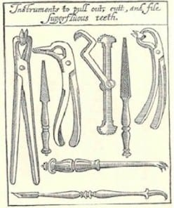 Woodcut of dental instruments taken from Peter Lowe's Whole Course of Chirurgerie, 1612