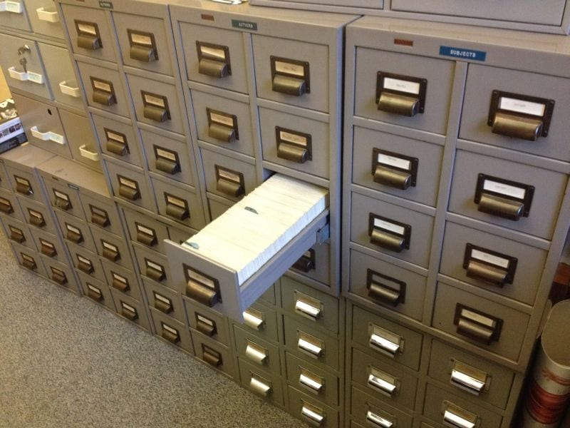 The College Library's card catalogue