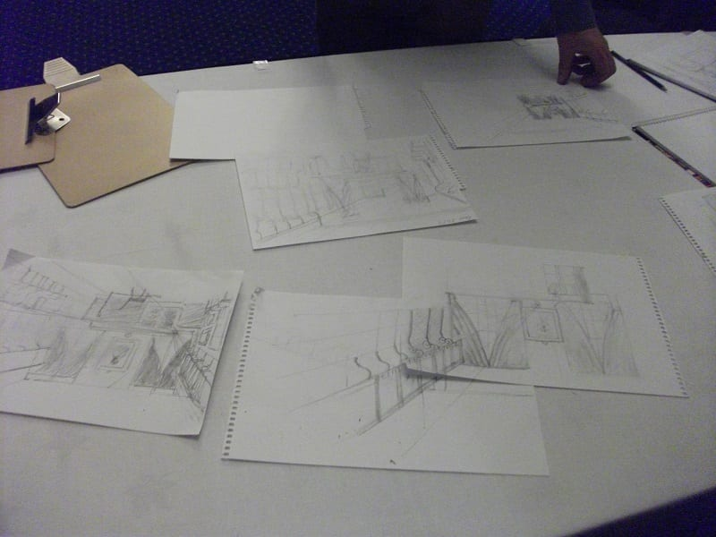 A selection of sketches drawn by our visitors of our Lower Library