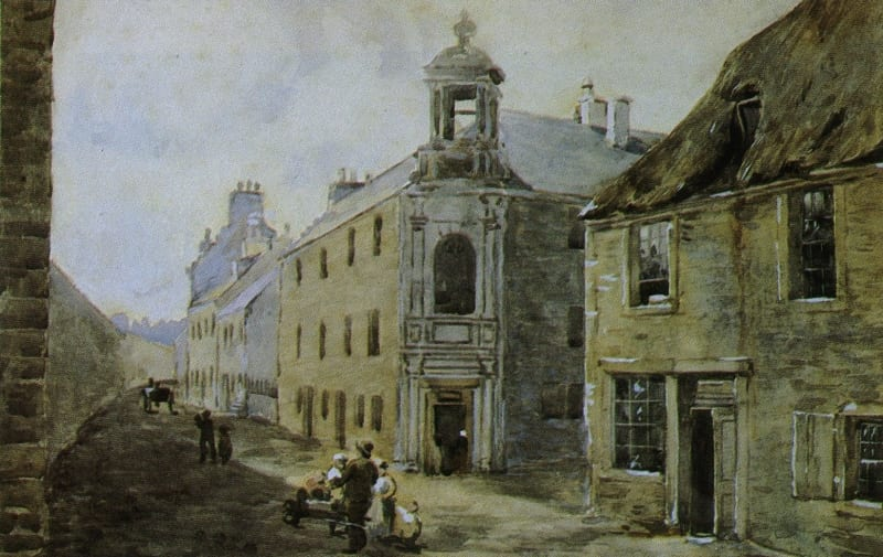 William Cullen's house in Castle Street, Hamilton. Artist and date unknown.