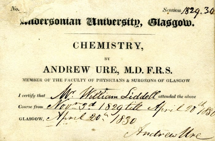 Student's ticket for Andrew Ure's Chemistry Class at the Andersonian University, 1830