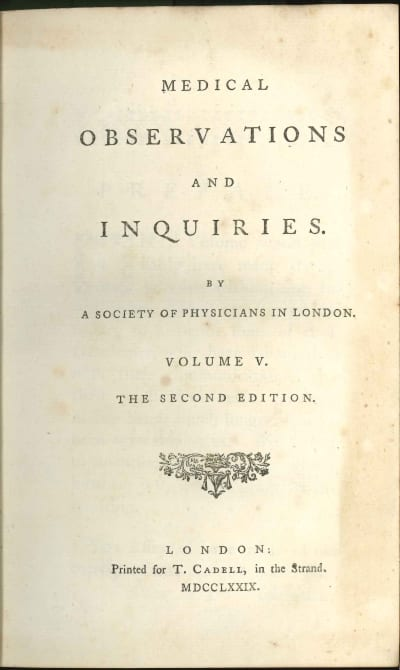 """Title page of """"Medical Observations and Inquiries"""", where Dobson published his findings"""