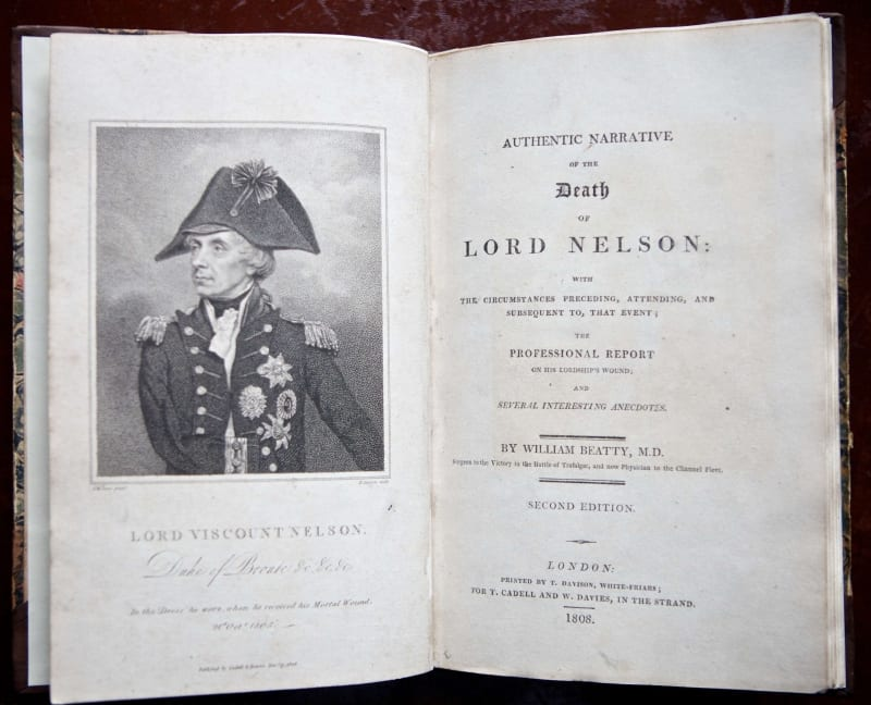 Title page of William Beatty's work on the death of Lord Nelson.