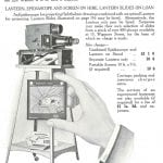 A projector and lantern slides for hire, from Hamblin's ophthalmological diary and year book, 1935.
