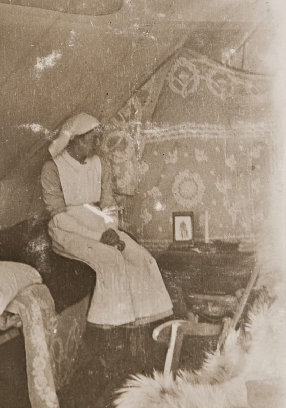 Nurse Annie Allan in her tent at Salonica.