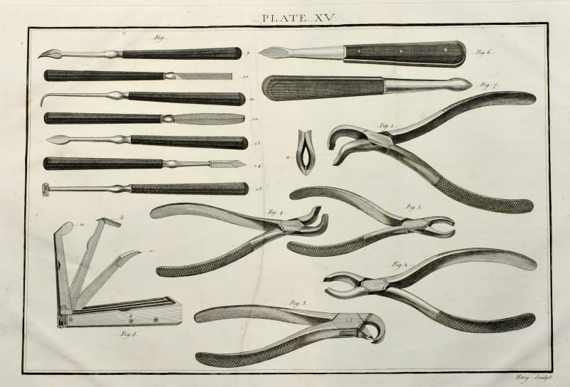 Forceps and scaling instruments from Savigny's catalogue, 1798