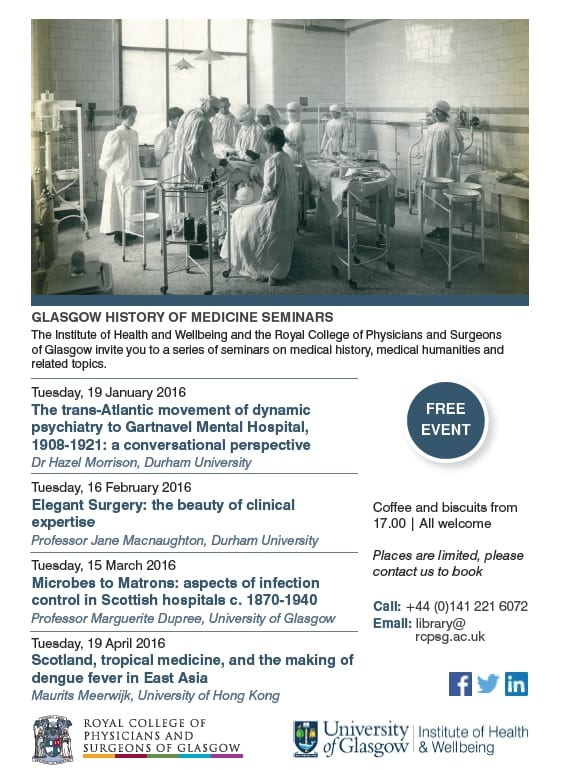 Glasgow History of Medicine Seminars - Winter 2016 programme
