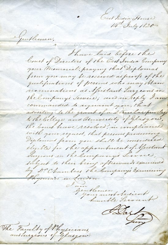Letter to the Faculty of Physicians and Surgeons of Glasgow from the East India Company, 1820