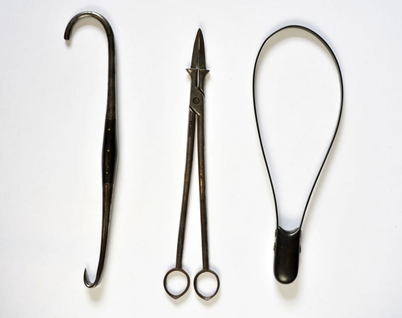 Midwifery instruments in the instrument collection of the Royal College of Physicians and Surgeons of Glasgow.