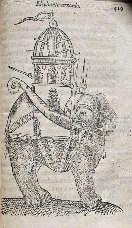 Ractado del elefante y de sus calidades by Christophori a Costa, bound within Tractado delas drogas, y medicinas de las Indias Orientale, Burgos, 1578.