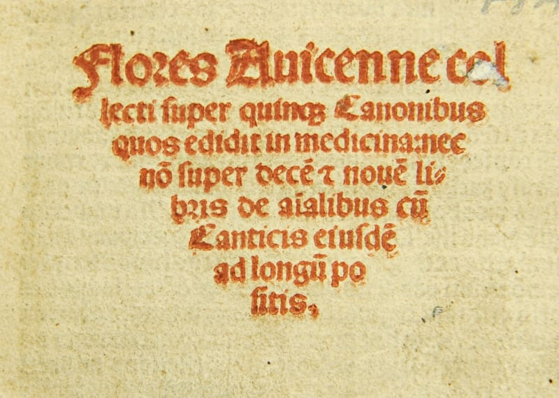 Title page of Flores Avicenna by Michael Capella, 1514.