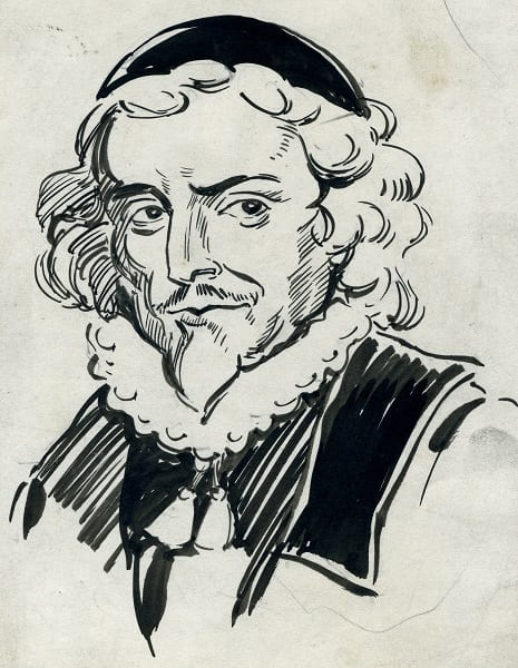 Ink drawing of College founder Peter Lowe