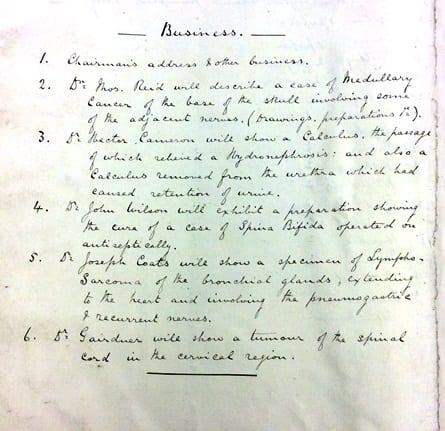 GP&CS first agenda 1873