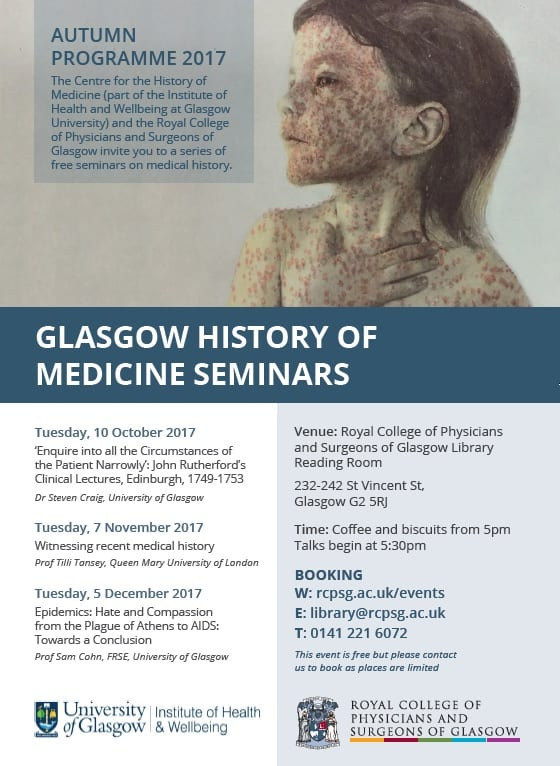 Programme for the Glasgow History of Medicine Seminars, Autumn 2017